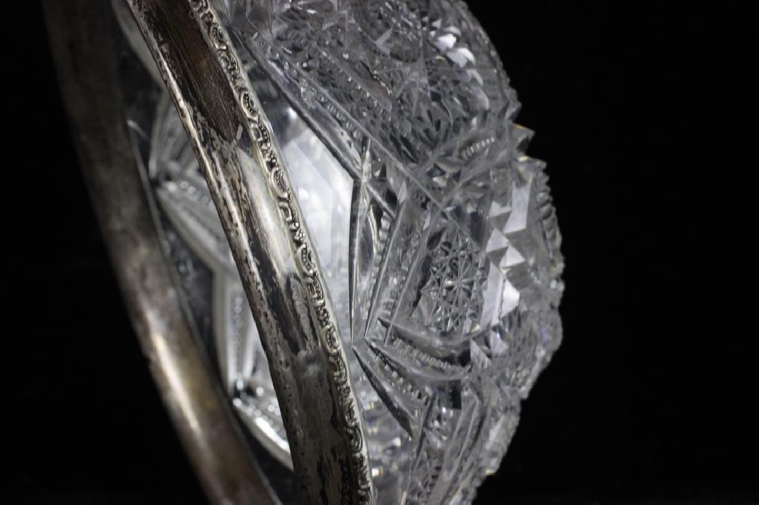 American Cut Crystal Bowl w/ Silver Rim - 8