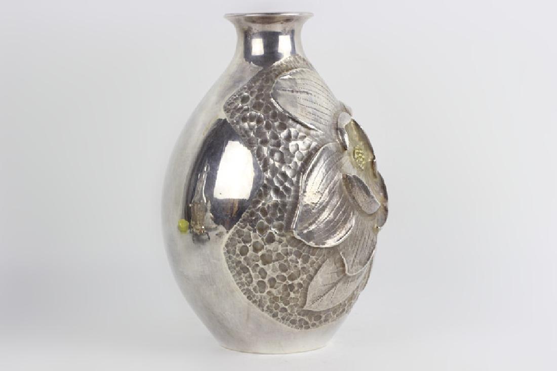 Japanese Gilt Sterling Silver Vase, Signed - 6