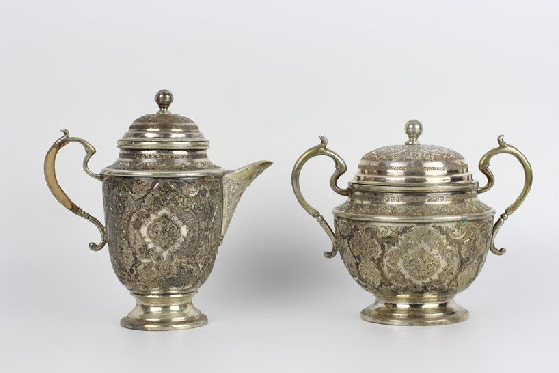 Persian Silver Coffee & Tea Set - 5