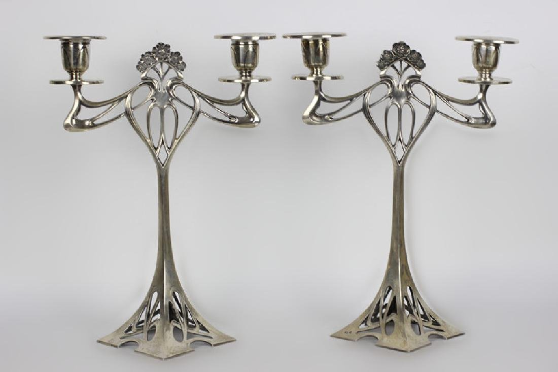 Pair of Silver Art Nouveau Candle Holders