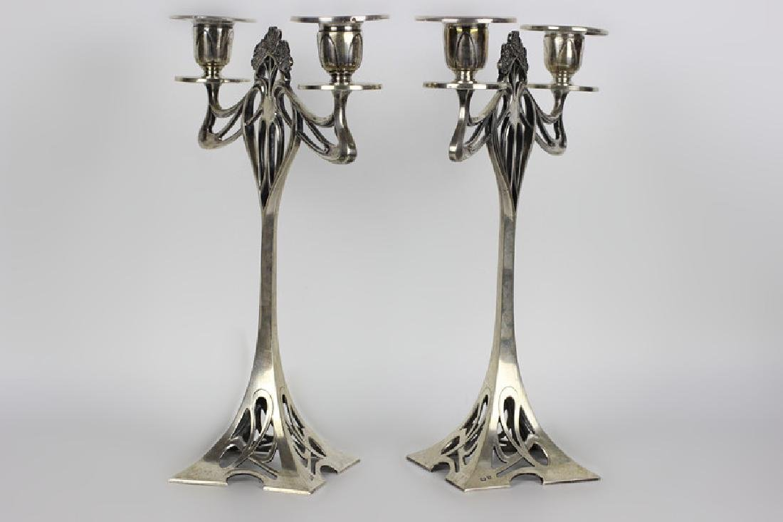Pair of Silver Art Nouveau Candle Holders - 2