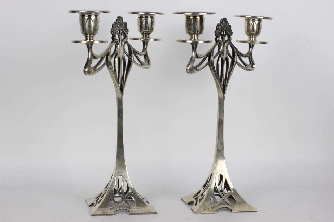 Pair of Silver Art Nouveau Candle Holders - 3