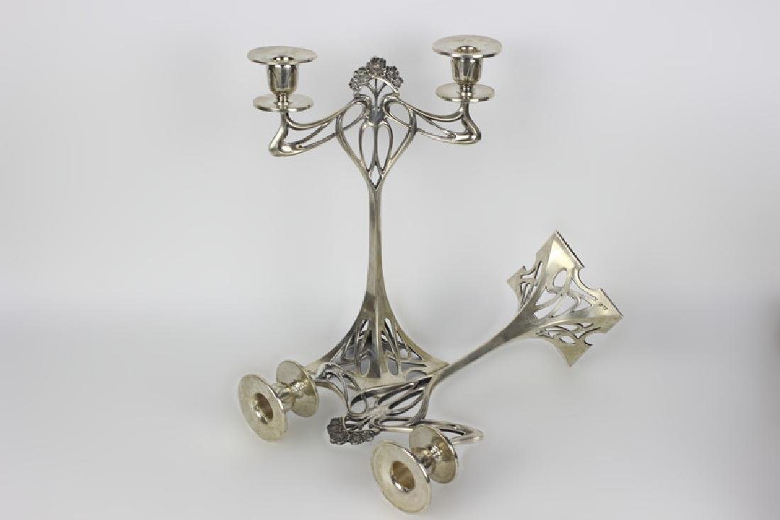 Pair of Silver Art Nouveau Candle Holders - 6