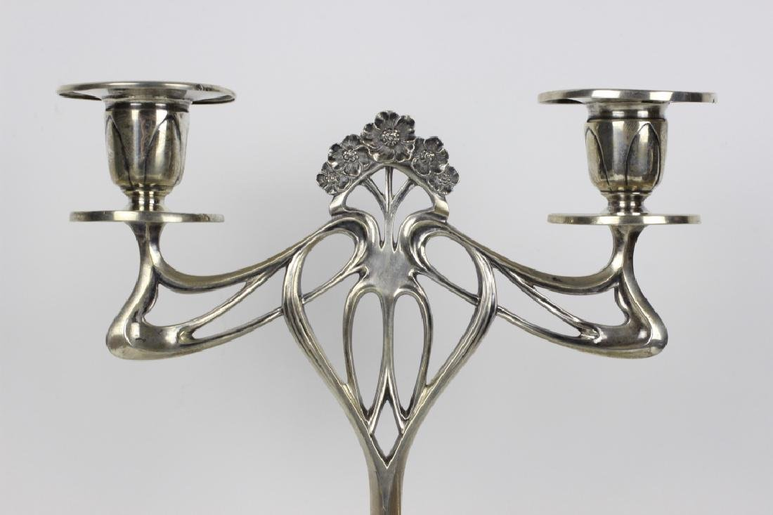 Pair of Silver Art Nouveau Candle Holders - 7