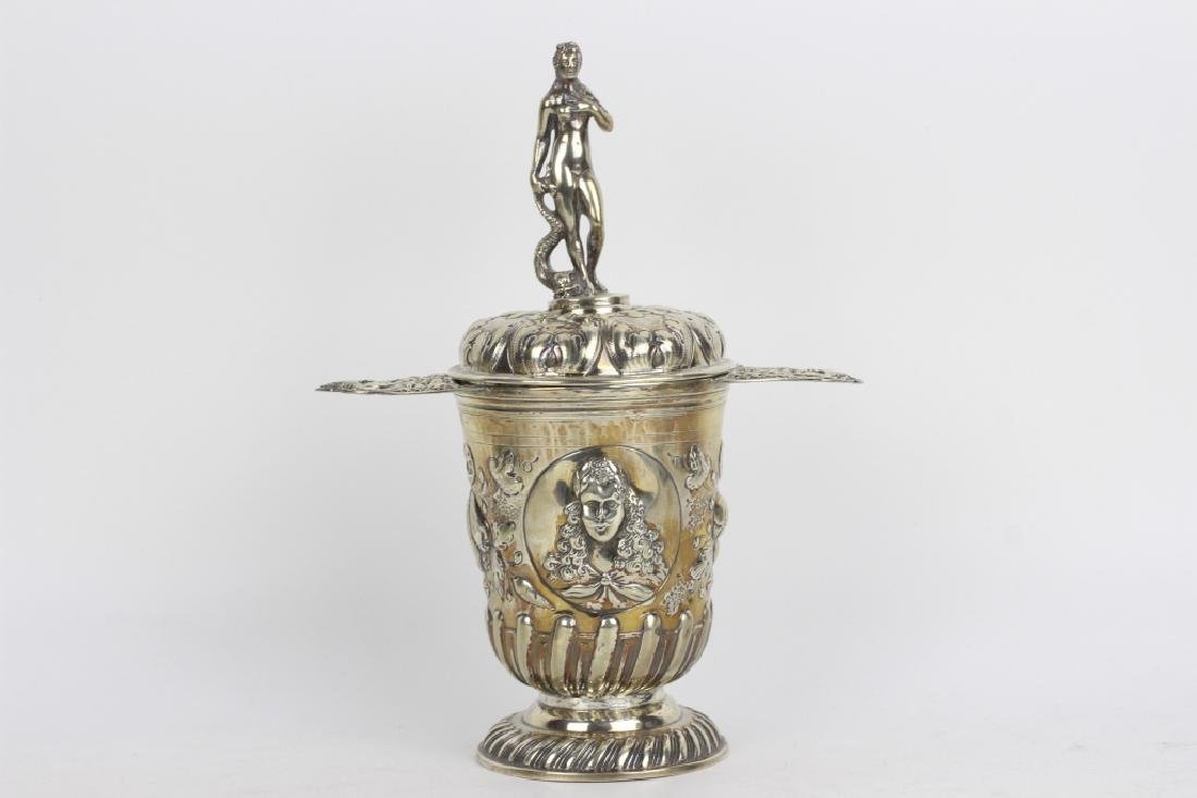 19thc German Silver 2 Handle Covered Cup