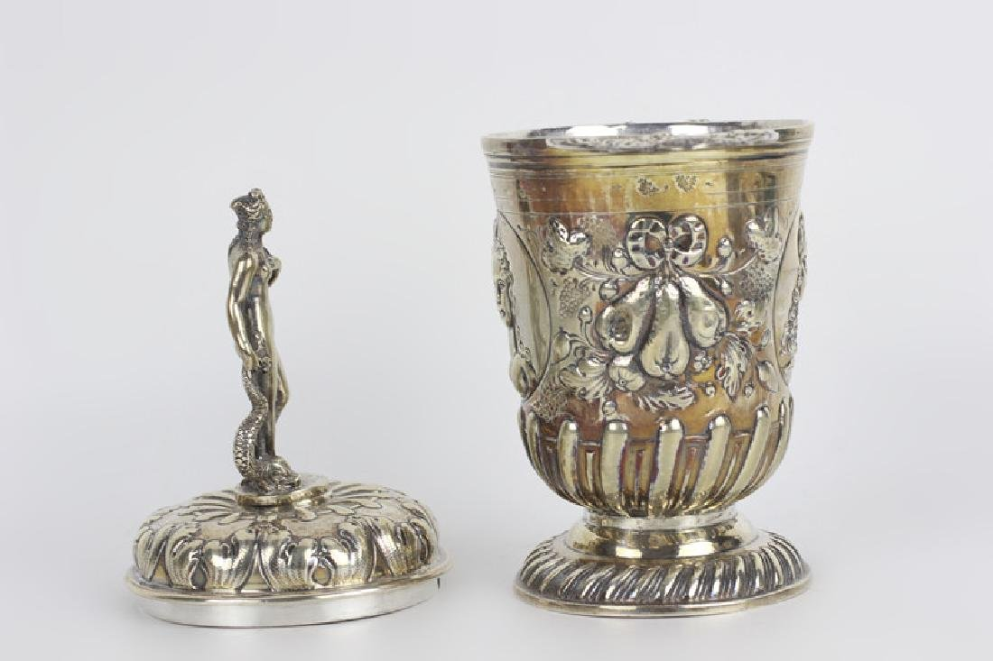19thc German Silver 2 Handle Covered Cup - 2