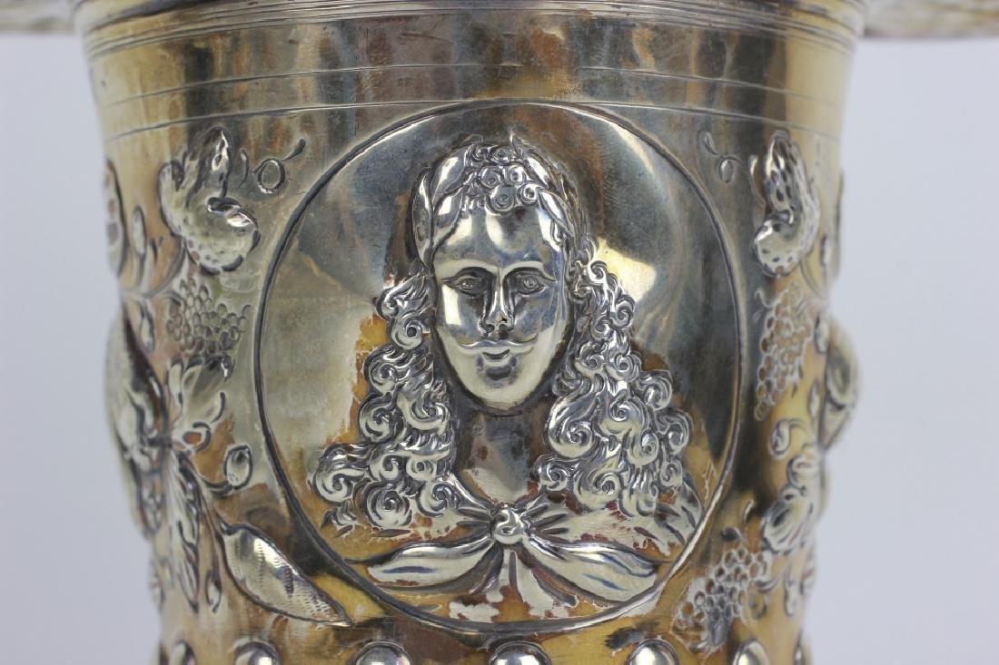 19thc German Silver 2 Handle Covered Cup - 3