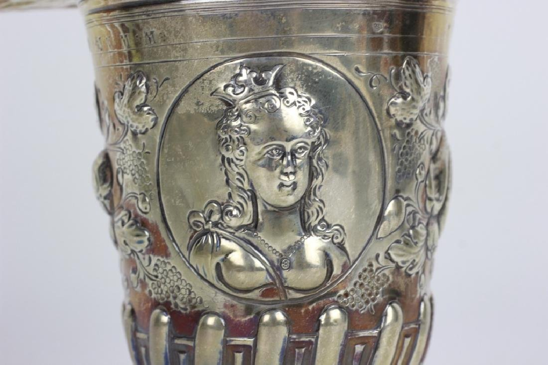 19thc German Silver 2 Handle Covered Cup - 5