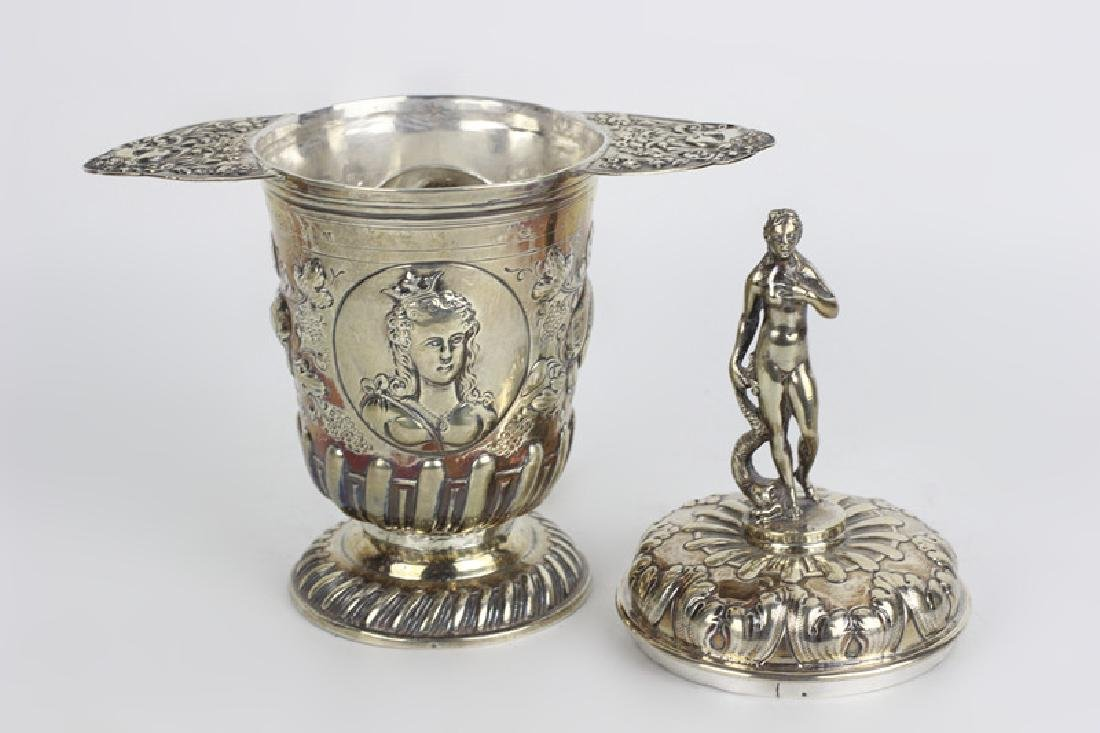 19thc German Silver 2 Handle Covered Cup - 7