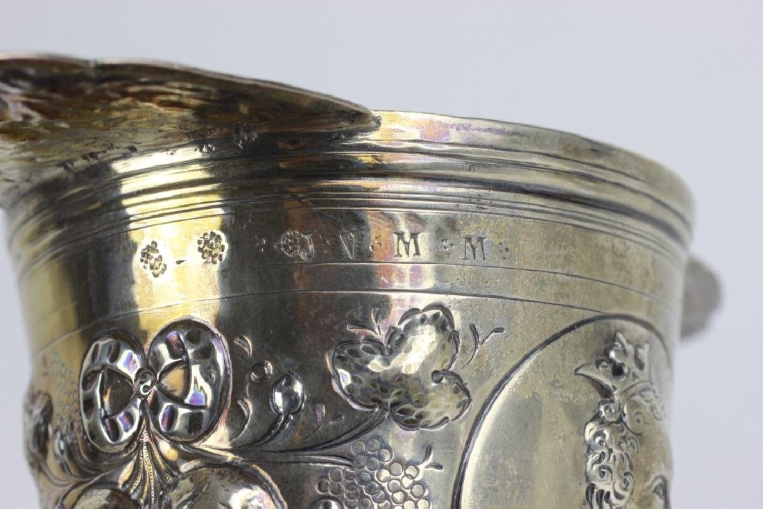19thc German Silver 2 Handle Covered Cup - 8