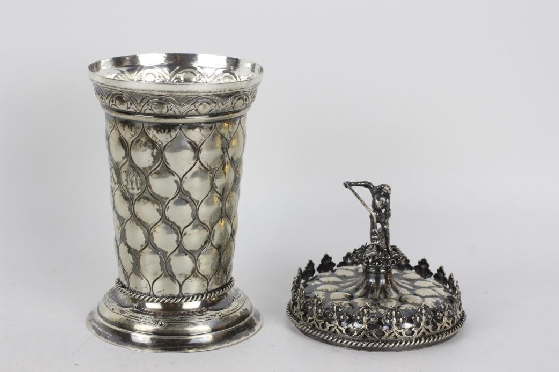 Early German Silver Figural Covered Cup - 6