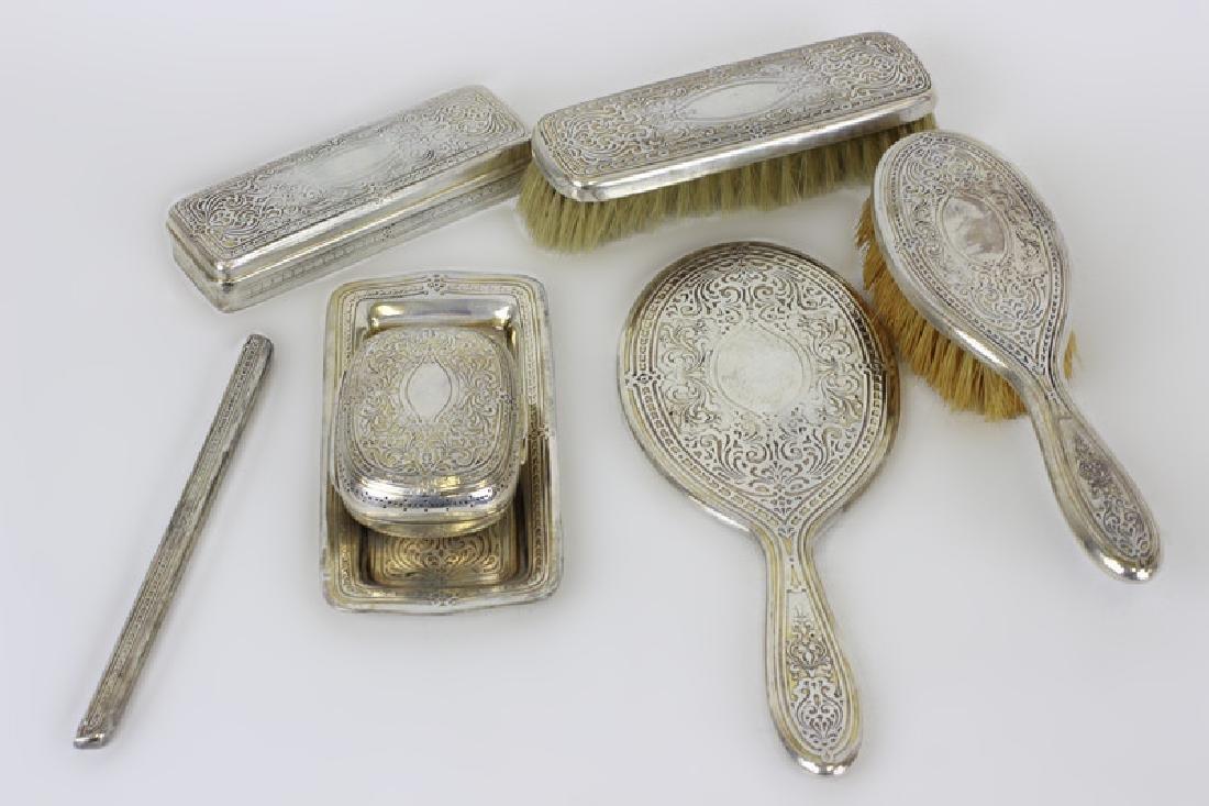Rare 19thc Tiffany & Co. Makers Silver Vanity Set - 8