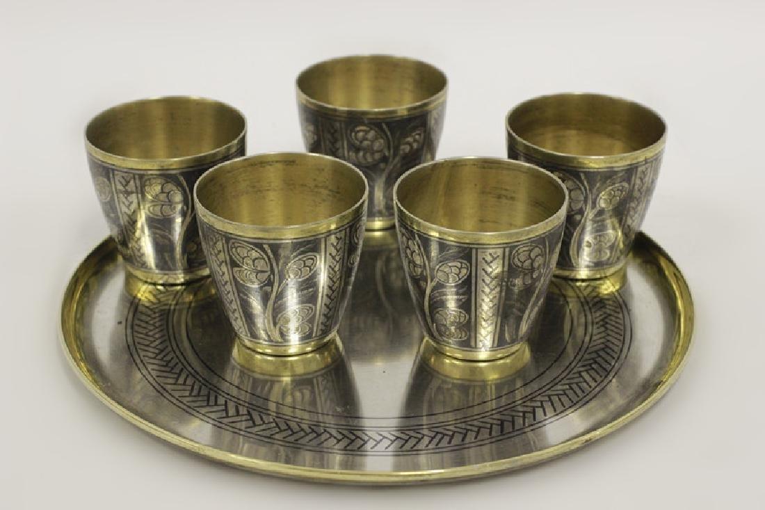 Russian Silver Niello Demitasse Set