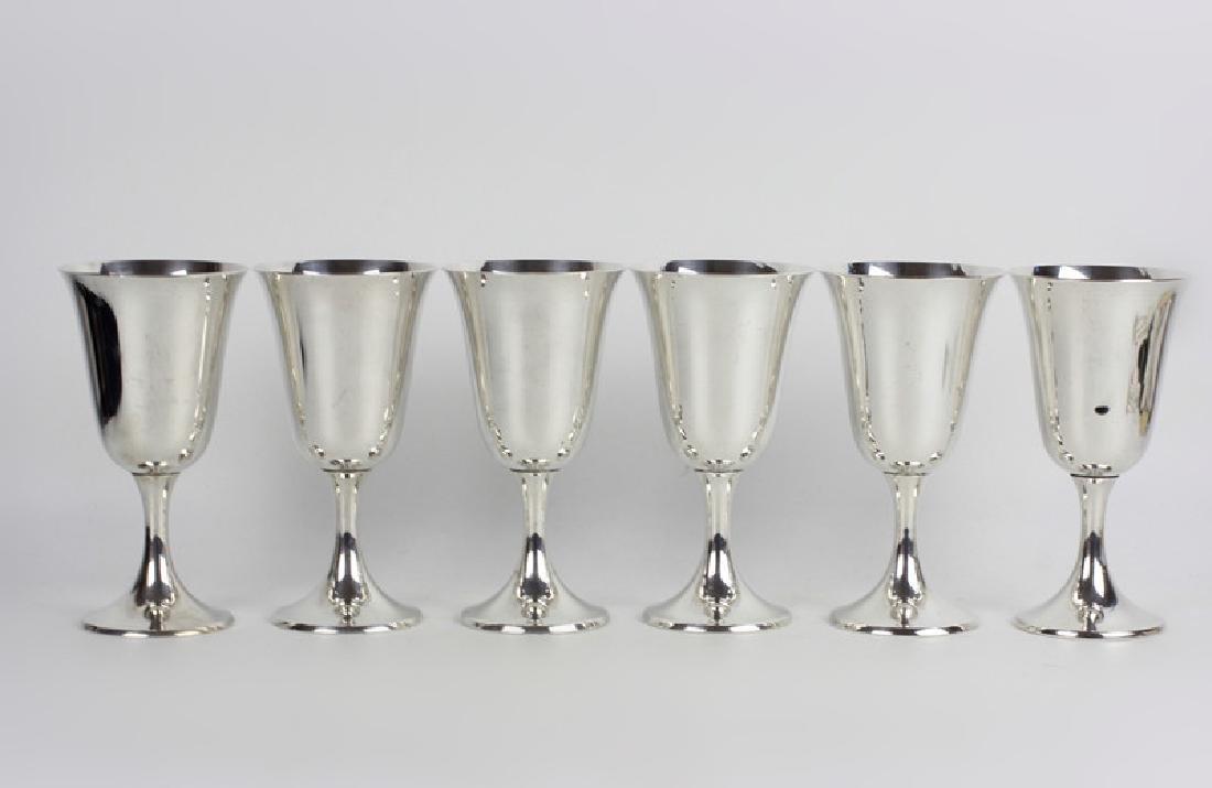 6 Gorham Sterling Silver Wine Goblets