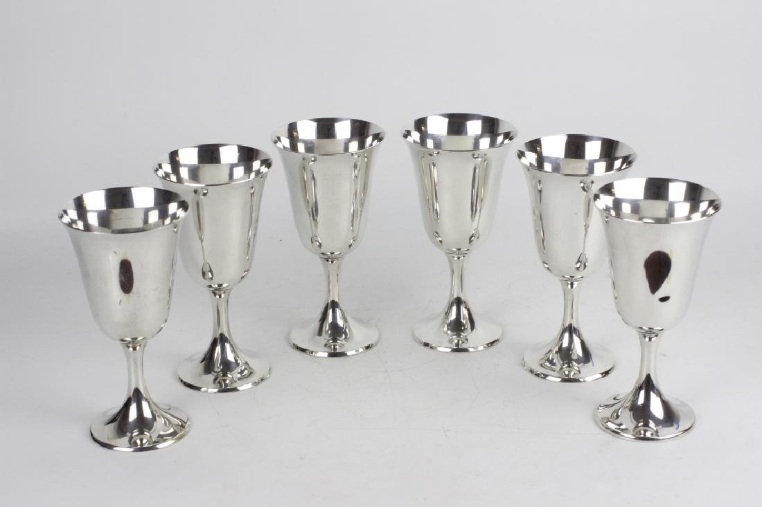 6 Gorham Sterling Silver Wine Goblets - 3