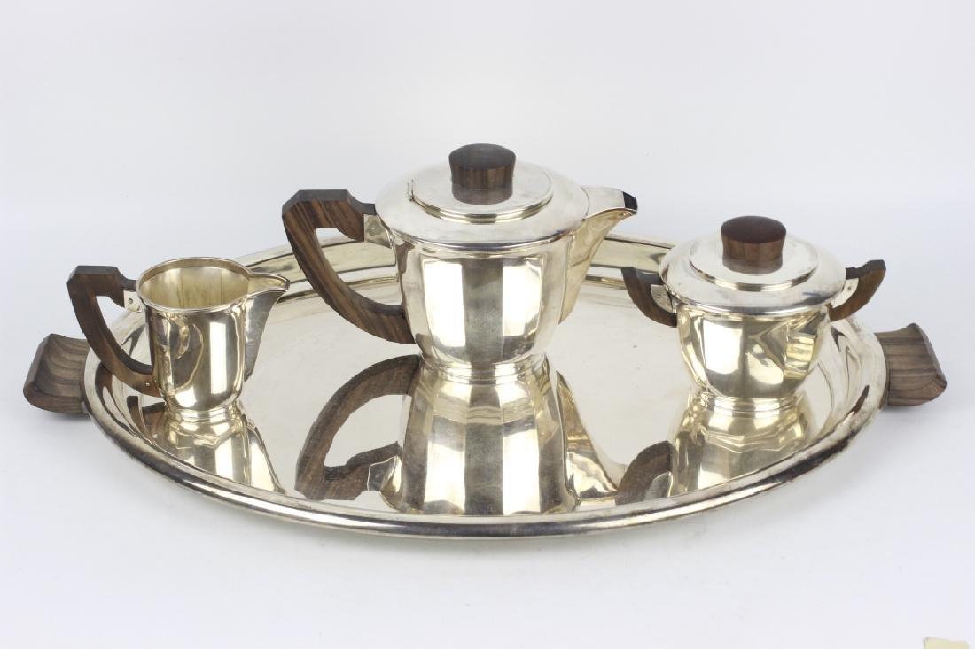 3pc French Silver Art Deco Tea Set w/ Wood Handles