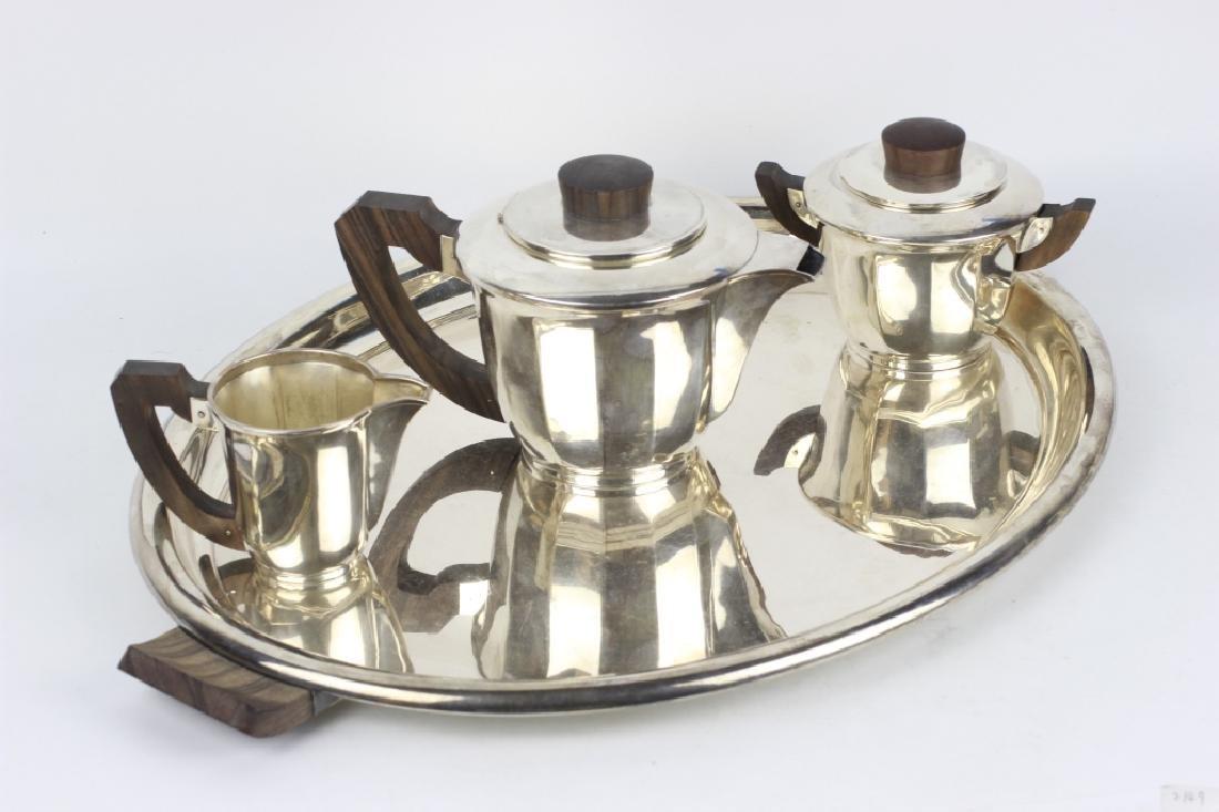 3pc French Silver Art Deco Tea Set w/ Wood Handles - 2