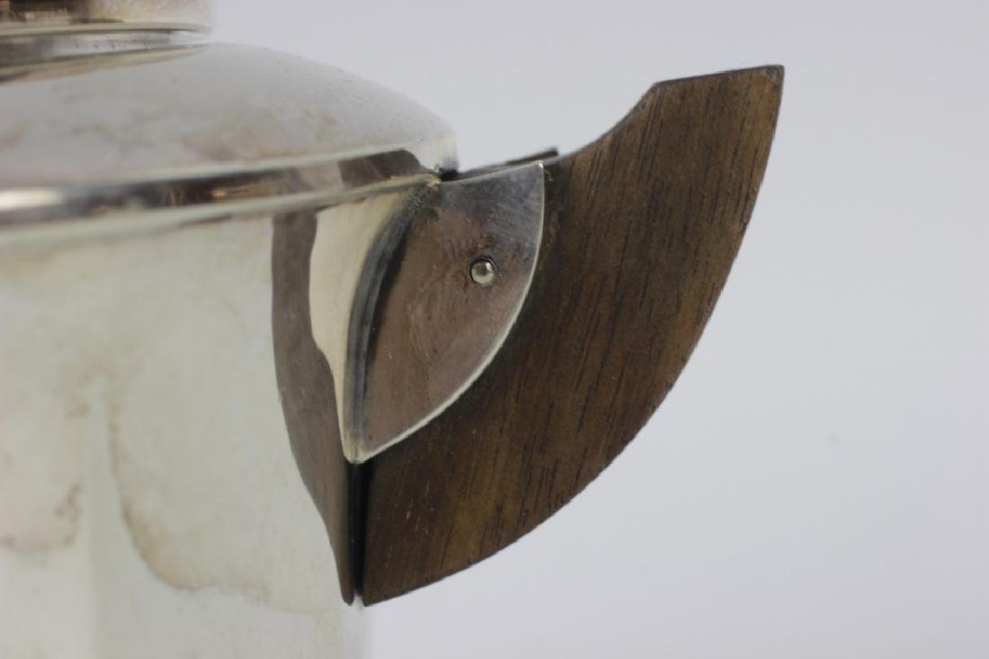 3pc French Silver Art Deco Tea Set w/ Wood Handles - 6