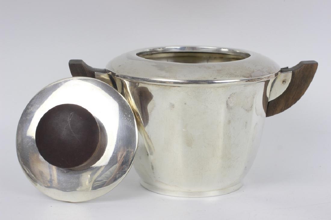 3pc French Silver Art Deco Tea Set w/ Wood Handles - 7