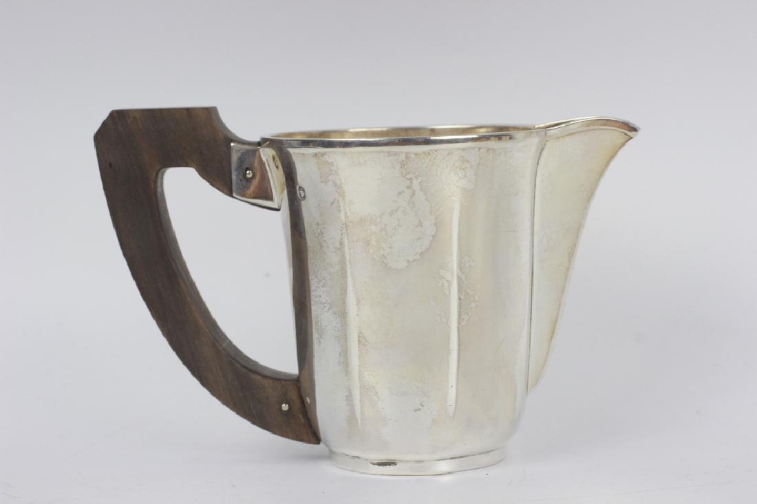 3pc French Silver Art Deco Tea Set w/ Wood Handles - 8