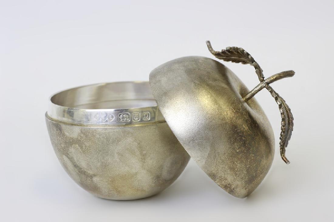 Unusual English Sterling Silver Apple Shape Box - 2