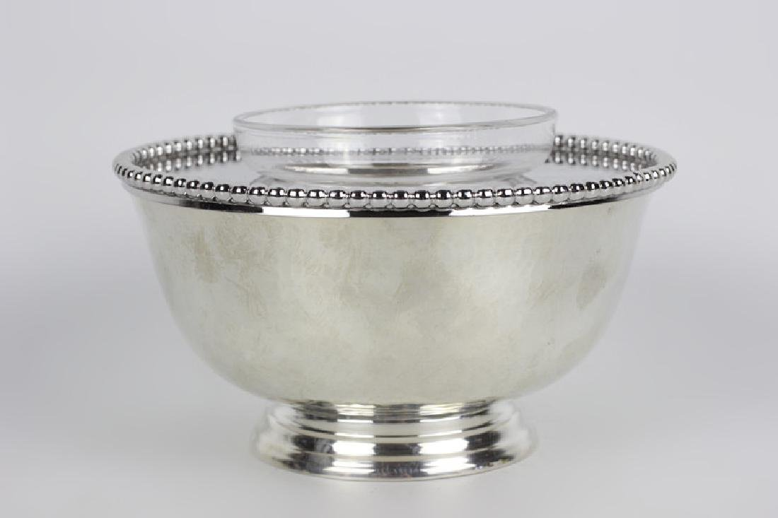 Unusual Sterling Silver Caviar Dish, Hand Hammered