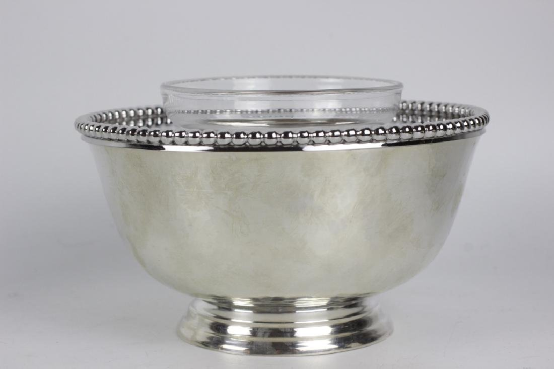 Unusual Sterling Silver Caviar Dish, Hand Hammered - 3