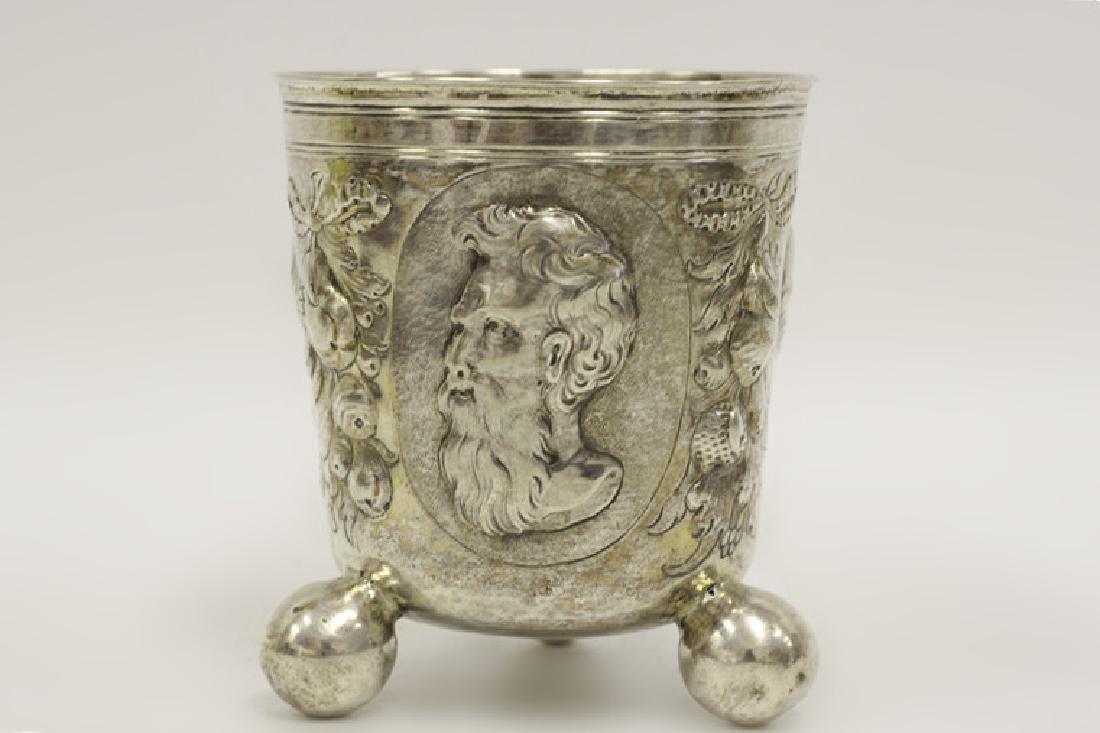 18thc Large German Nuremberg Silver Footed Cup - 3