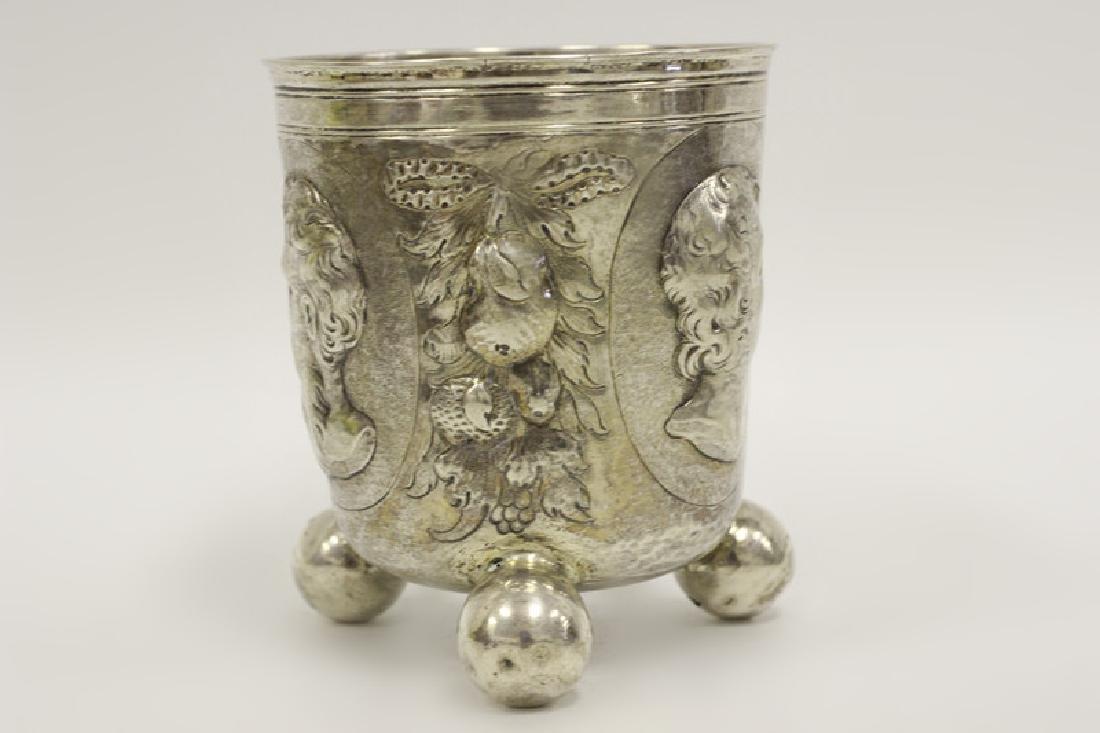 18thc Large German Nuremberg Silver Footed Cup - 4