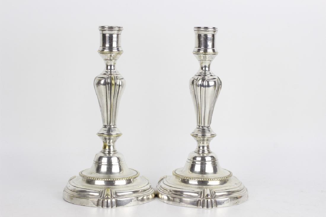 Pair of Silver Bronze Candlesticks