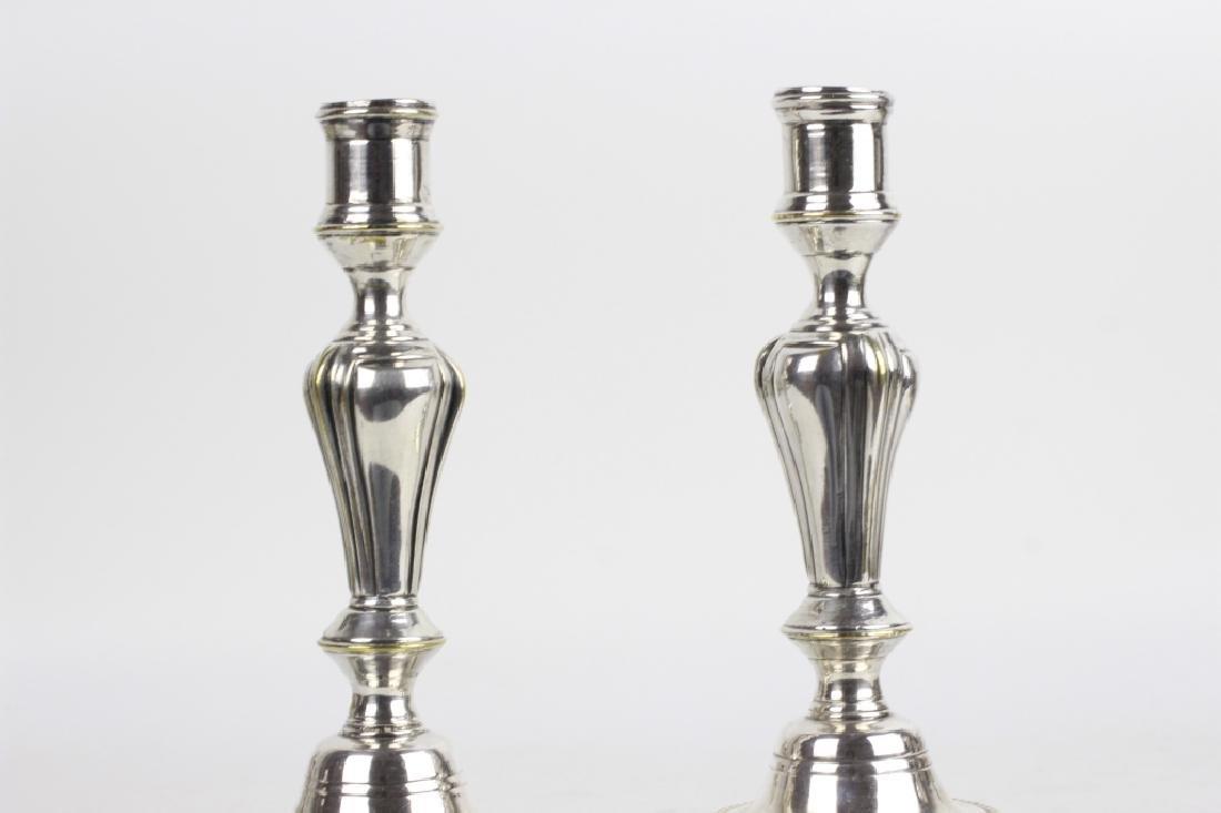 Pair of Silver Bronze Candlesticks - 2