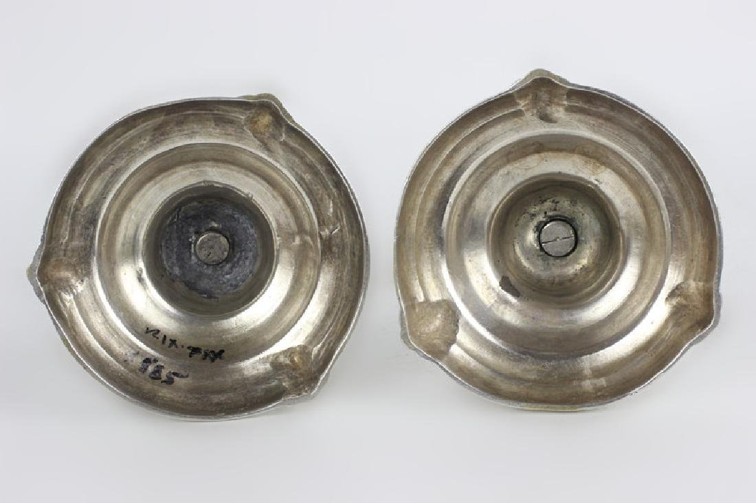 Pair of Silver Bronze Candlesticks - 4