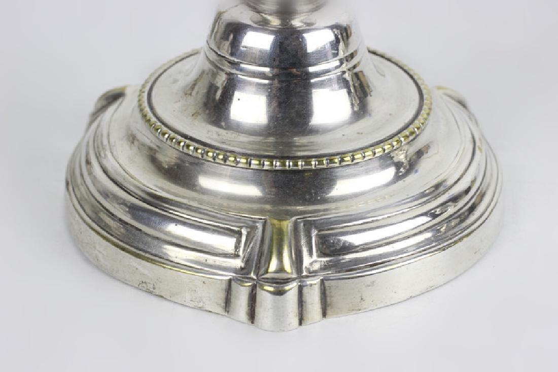Pair of Silver Bronze Candlesticks - 5