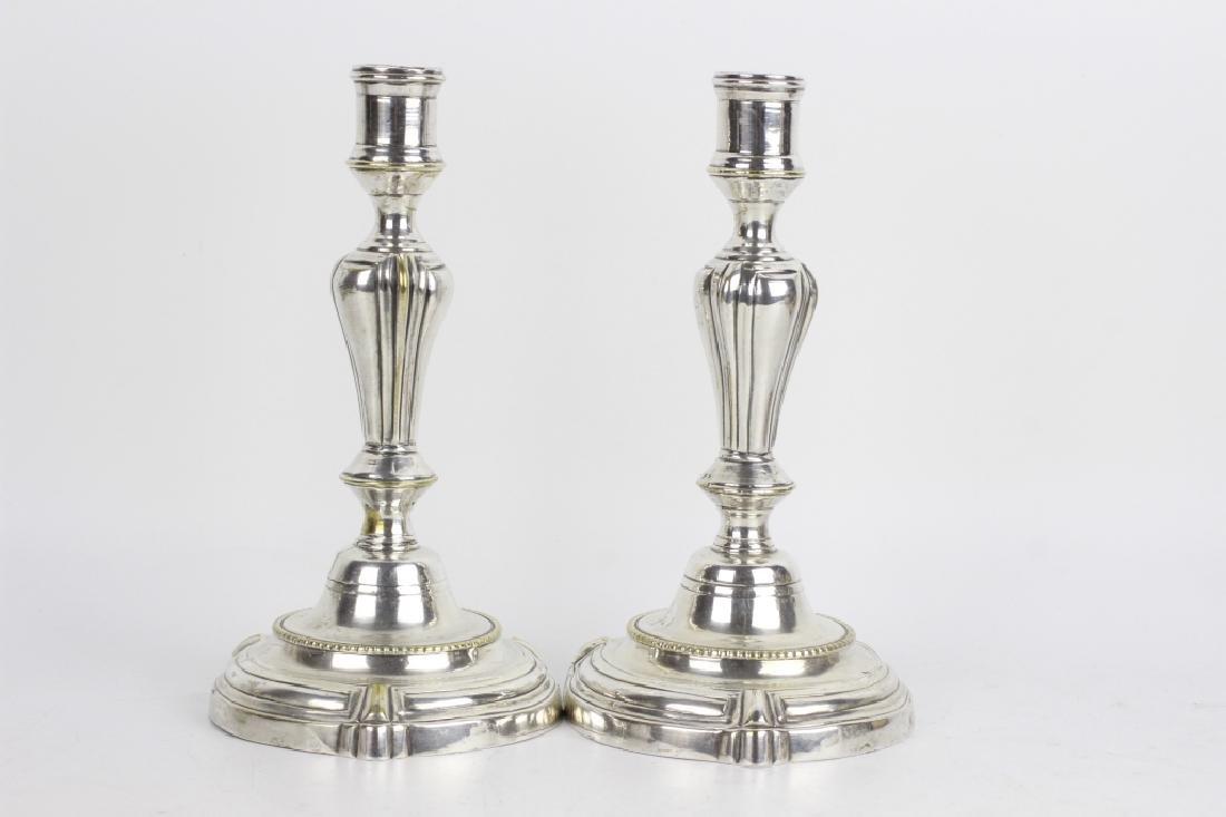 Pair of Silver Bronze Candlesticks - 6