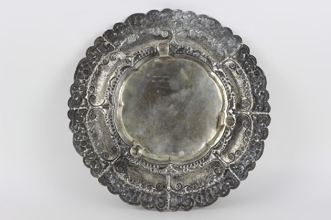 800 Silver Hand Hammered Footed Platter - 10