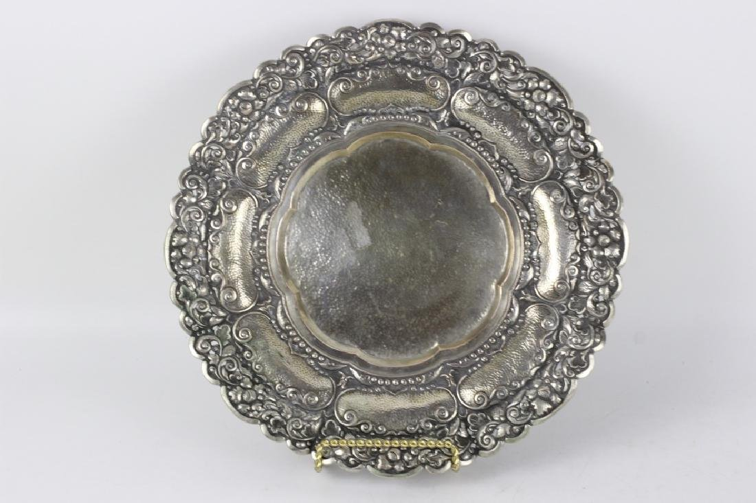 800 Silver Hand Hammered Footed Platter
