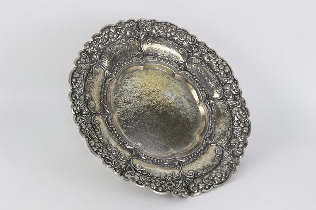 800 Silver Hand Hammered Footed Platter - 2