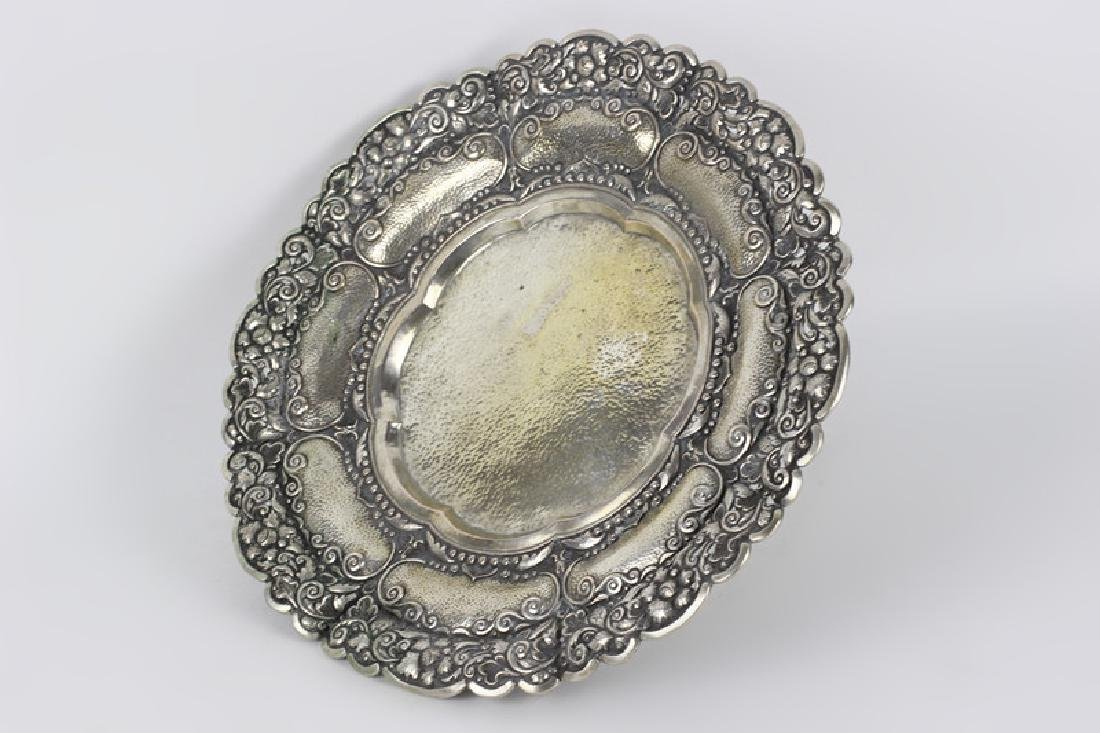 800 Silver Hand Hammered Footed Platter - 3