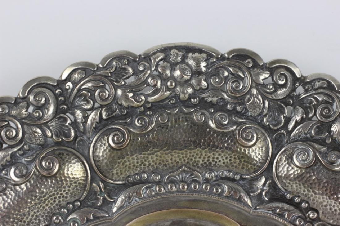 800 Silver Hand Hammered Footed Platter - 5