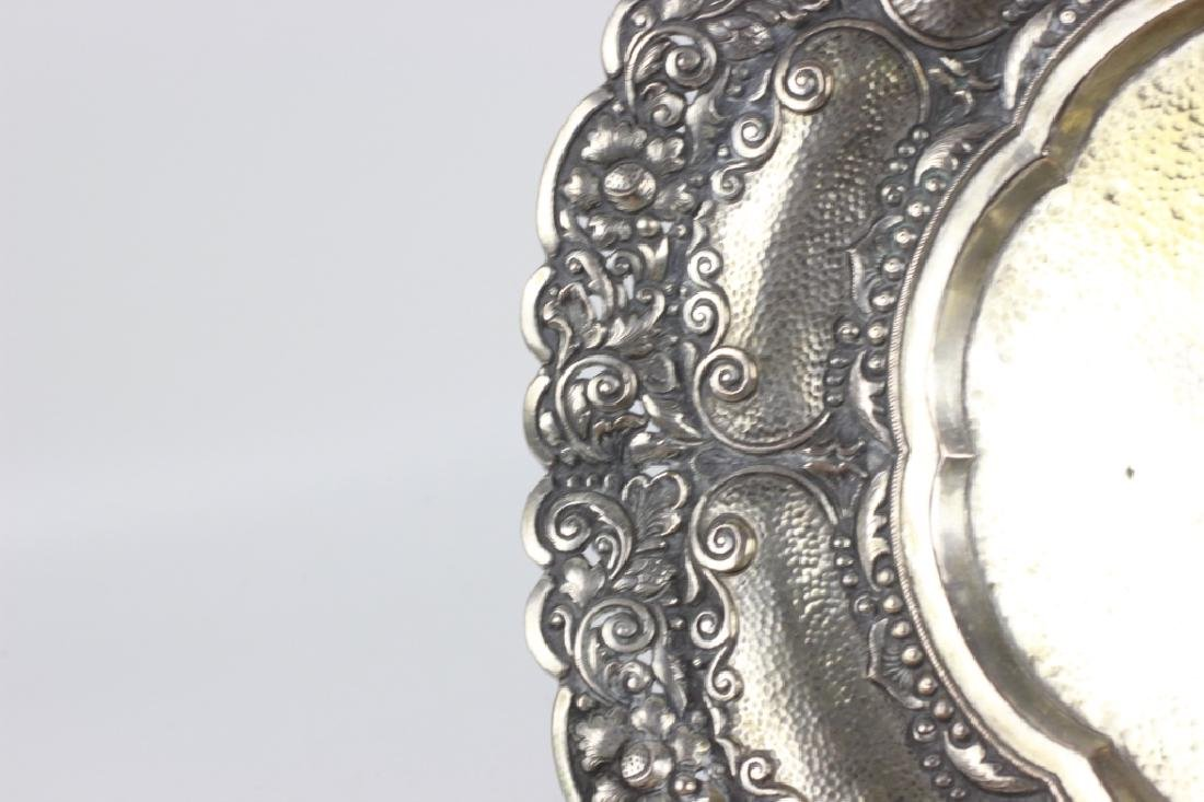 800 Silver Hand Hammered Footed Platter - 7
