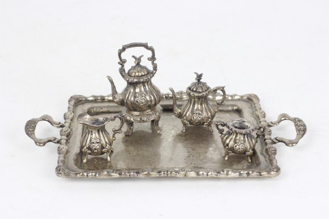 Sterling Silver Miniature Tea & Coffee Set w/ Tray