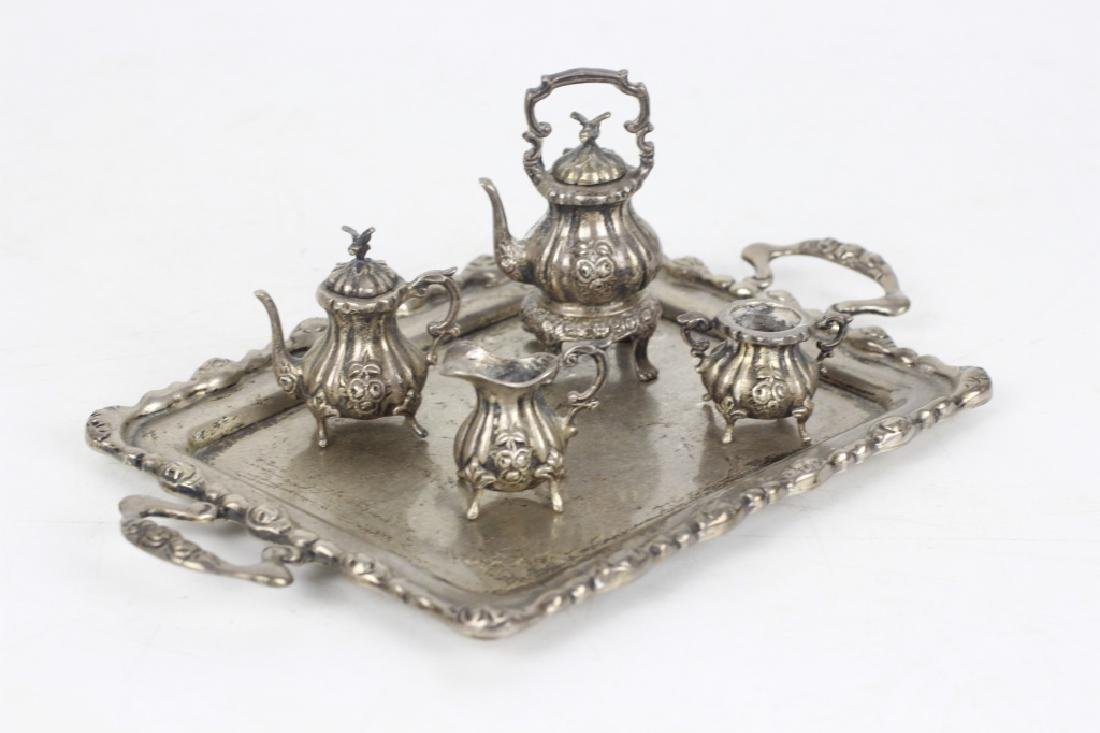 Sterling Silver Miniature Tea & Coffee Set w/ Tray - 2