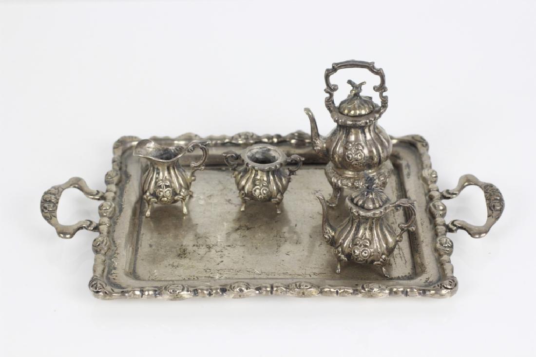 Sterling Silver Miniature Tea & Coffee Set w/ Tray - 3