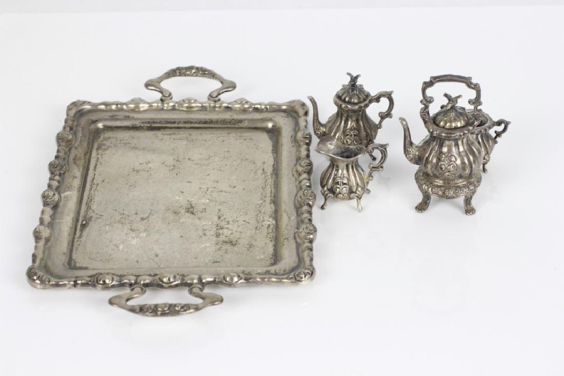 Sterling Silver Miniature Tea & Coffee Set w/ Tray - 4
