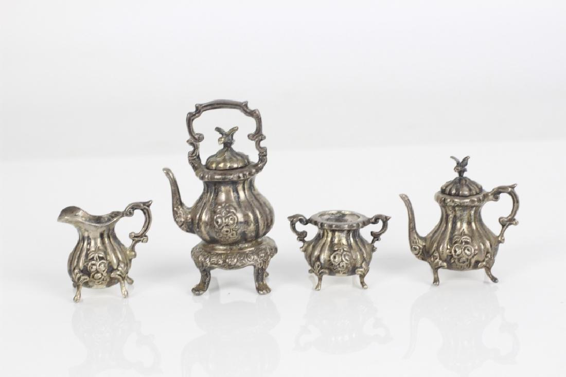 Sterling Silver Miniature Tea & Coffee Set w/ Tray - 6