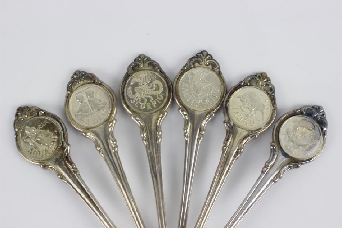 Set of Zodiac Sterling Silver Spoons - 7