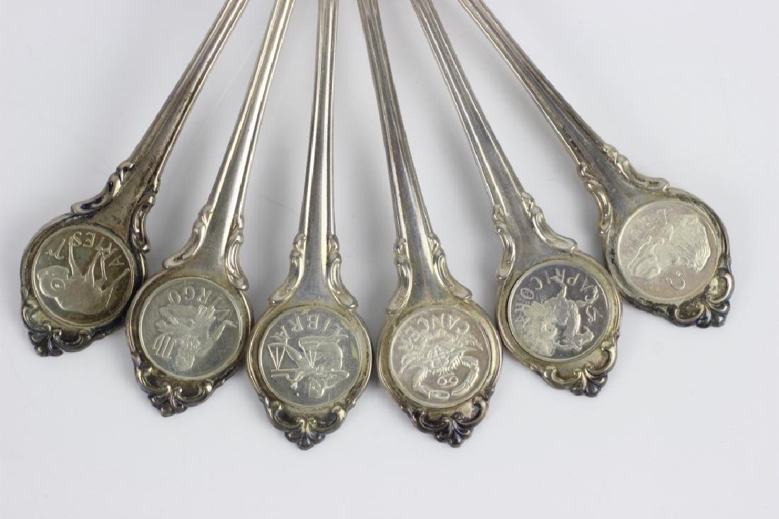Set of Zodiac Sterling Silver Spoons - 8
