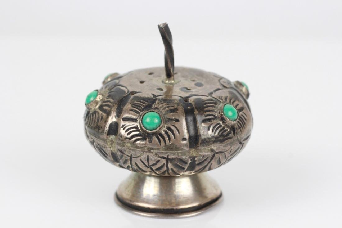 Mexican Silver Small Besamim w/ Turquoise Stones