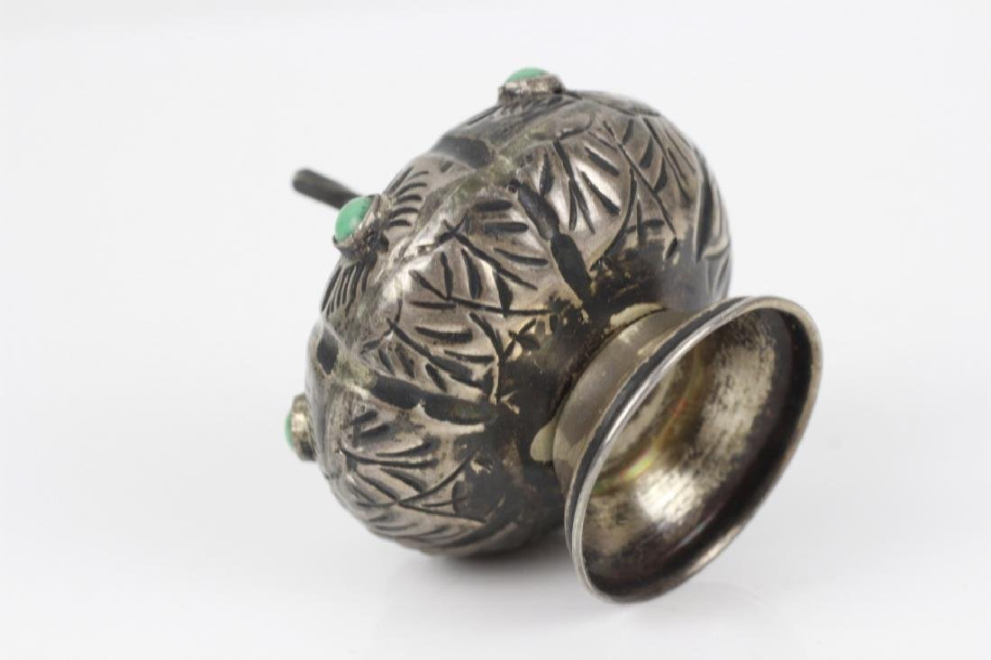 Mexican Silver Small Besamim w/ Turquoise Stones - 4