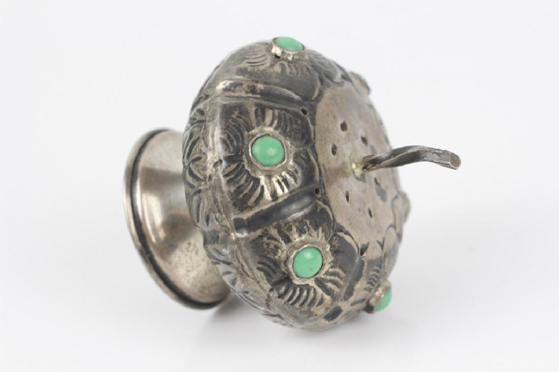 Mexican Silver Small Besamim w/ Turquoise Stones - 6
